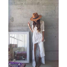 Load image into Gallery viewer, Embroidered White Long Sleeve Boho Dress