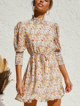 Load image into Gallery viewer, Sweety Floral Long Sleeves Dress Autumn and Winter Street Temperament Sweet Small Flower Elastic Waist Swing Dress