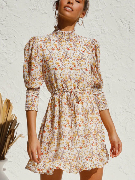 Sweety Floral Long Sleeves Dress Autumn and Winter Street Temperament Sweet Small Flower Elastic Waist Swing Dress