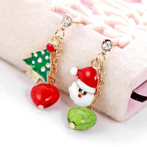 Festive Christmas Tree Santa Claus Stud Earrings