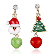 Load image into Gallery viewer, Festive Christmas Tree Santa Claus Stud Earrings