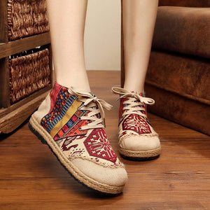 Vintage Boho Folk Pattern Lace-up Flat Canvas Shoes