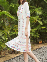 Load image into Gallery viewer, 2018 Embroidered Half Sleeve Bohemia Beach Dress