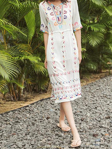 2018 Embroidered Half Sleeve Bohemia Beach Dress