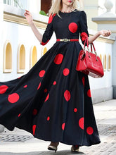 Load image into Gallery viewer, Vintage Polka Slim Big Hem Long Sleeve Maxi Dress