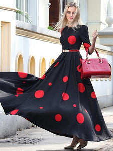 Vintage Polka Slim Big Hem Long Sleeve Maxi Dress