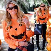 Load image into Gallery viewer, Women Fashion Hot Halloween Party Pumpkin Sweatshirt Tops