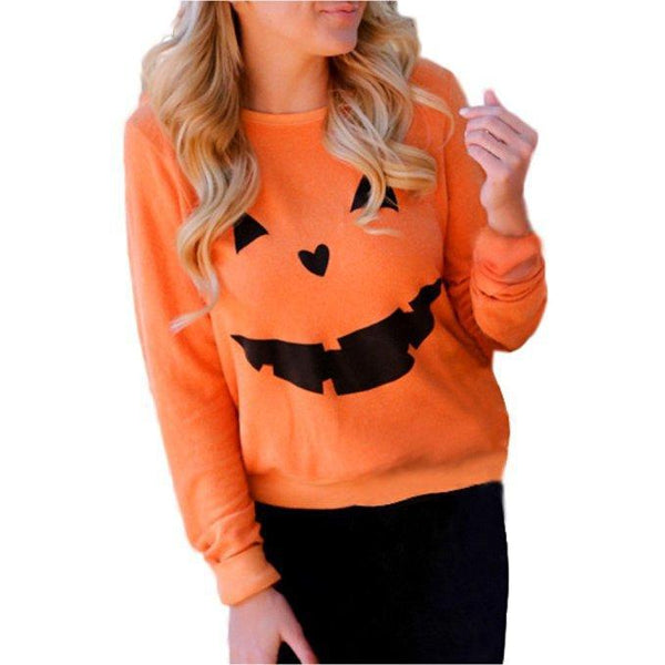 Women Fashion Hot Halloween Party Pumpkin Sweatshirt Tops