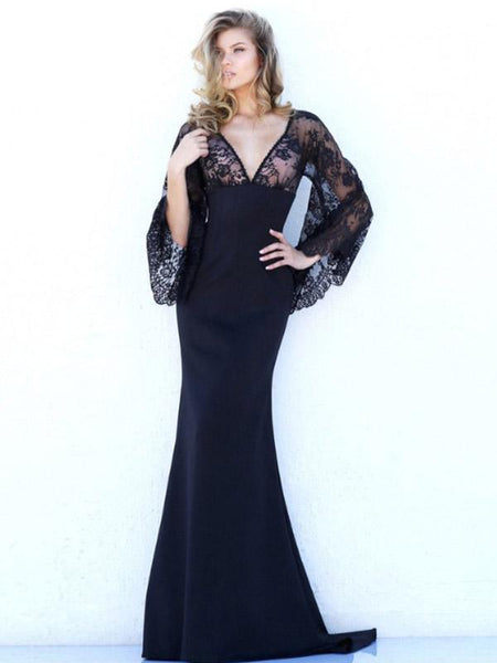 Black Batwing Backless Evening Dress