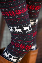 Load image into Gallery viewer, Black Snowflakes Elk Christmas Warm Leggings