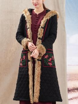 Autumn Winter New National Style Chinese Embroidery Cotton  Fur Collar Hooded Coat