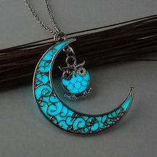 Load image into Gallery viewer, Moon Owl Glow in Dark Pendant Necklace
