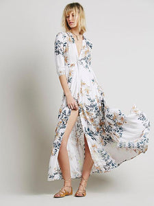 Chiffon Beach Vacation Floral-Printed Half Sleeve Mask Cover-ups Long Dress