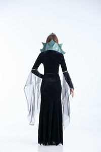 Halloween Black Long Sleeve Witch Maxi Dress