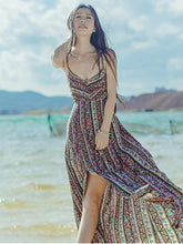 Load image into Gallery viewer, Sexy Bohemia Spaghetti Straps Front Split Maxi Dress