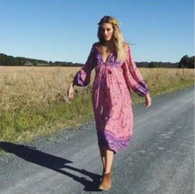 Load image into Gallery viewer, Boho Gypsy Floral Tassel V Neck Long Sleeve Bohemian Fashion Dress