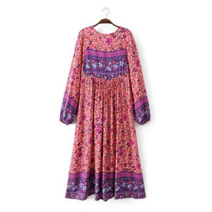 Boho Gypsy Floral Tassel V Neck Long Sleeve Bohemian Fashion Dress