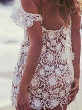 Load image into Gallery viewer, New Beachwear Perspective Water Soluble Hook Flower Hollow Lace Blouse Short-sleeved Lace Dress