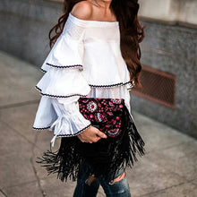 Load image into Gallery viewer, Sexy Off The Shoulder Multi-layer Ruffled Shirt Top