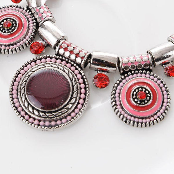 Popular retro luxury national style lady alloy drop oil Bohemia necklace