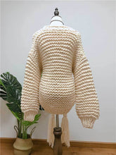 Load image into Gallery viewer, Knitting Loose Tassel Straps Long Sleeve Cardigan Sweater