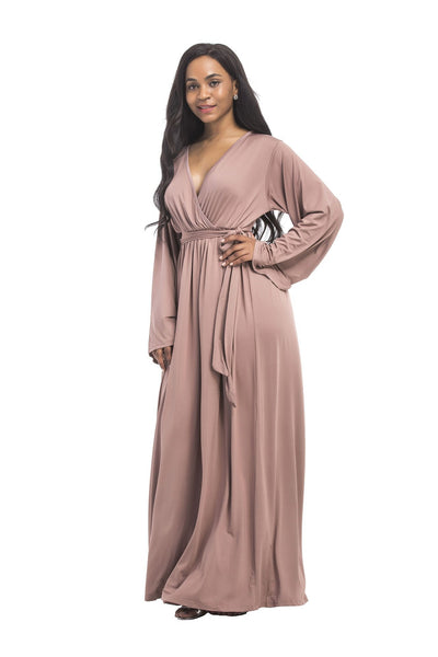 Plus size dress irregular personality solid color sexy long-sleeved deep V women s evening dress colored optional