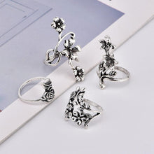 Load image into Gallery viewer, Vintage 4 Pcs Ring Set Bohemian Flower Silver Rings Punk Knuckle Ring Set