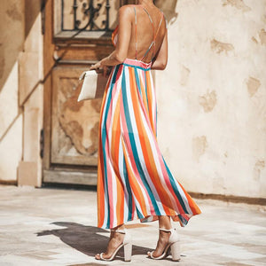 Colorful Striped Print V Neck Backless Sexy Long Dress