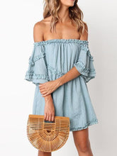 Load image into Gallery viewer, Off Shoulder Pleated Solid Color Mini Dress