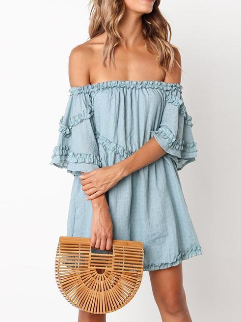 Off Shoulder Pleated Solid Color Mini Dress