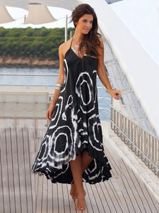 2018 Print Black Halter Beach Maxi Long Dress