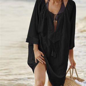 Women Solid Color Tassel Mini Dress Swimwear Beach Cover-up