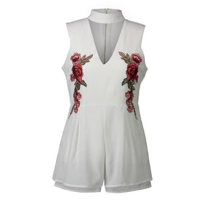 2018 New Halter V Neck Rose Embroidered Rompers