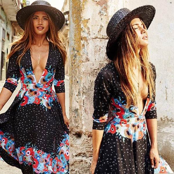 Bohemia stylish half sleeve colorful V-neck print long dress