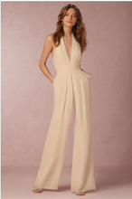 Load image into Gallery viewer, Solid Color Halter Wide Leg Pants Jumpsuit