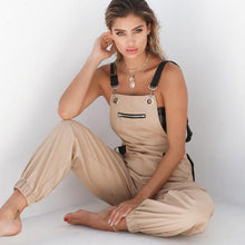 Load image into Gallery viewer, Khaki Zipper Bib with Pockets Fashion Casual Sexy Long Jumpsuits