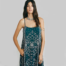 Load image into Gallery viewer, New Spaghetti Strap Embroidered Split Midi Dress