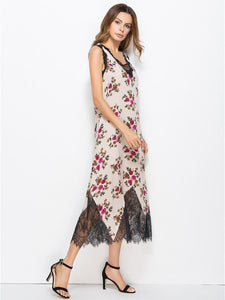Floral Lace Split-joint V-neck Sleeveless Bohemia Midi Dress