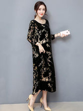 Load image into Gallery viewer, Velvet Print Round Neck Loose Maxi Dress