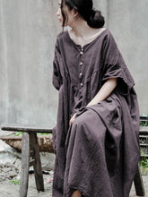 Load image into Gallery viewer, Linen Cotton Loose Casual Plus Size Maxi Dress