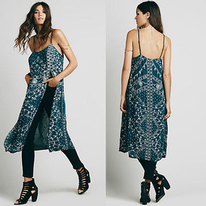 New Spaghetti Strap Embroidered Split Midi Dress