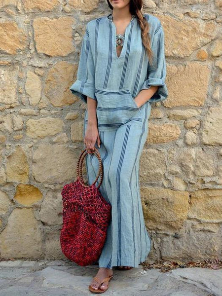 Stripe Loose Casual Linen Cotton Maxi Dress