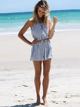 Load image into Gallery viewer, Stripe Sleeveless Backless Belted Rompers