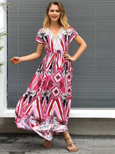 Load image into Gallery viewer, Summer Print Short Sleeve Bohemia Maxi Dress
