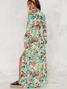 Floral Deep V Neck Long Sleeve Split Maxi Dress