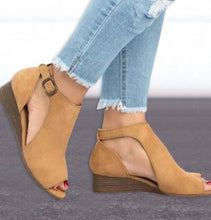 Load image into Gallery viewer, Wedge Buckles Mid Heel Peep Toe Sandal Shoes