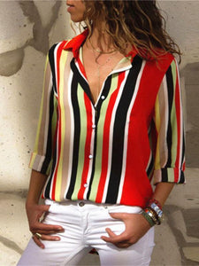 Casual Multicolor Stripes Long Sleeves Shirts Tops
