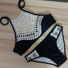 Load image into Gallery viewer, Solid Color Embroidery Boho Bikini Set Swimsuit