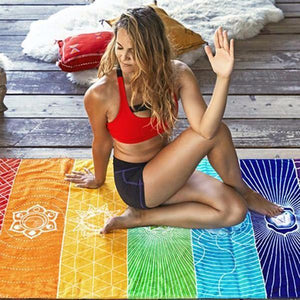 Unique Rectangle Rainbow Summer Beach Towel Yoga Mat