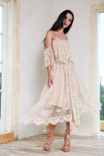Load image into Gallery viewer, Off-The-Shoulder Lace Irregular Hem Evening Dress